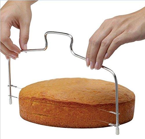 Cake Cutter Slicer Leveler KOOTIPS Premium Food Grade Stainless Steel Double Wires Cake Cutter  Slicer  Leveler Adjustable 138 x 63 inches Dishwasher Safe Silver