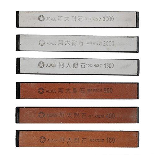 Mexidi Sharpening Stone Set - Set 6pc Professional Kitchen Knife Sharpener Whetstone - Non-slip Base Stone Grit 180400800150020003000