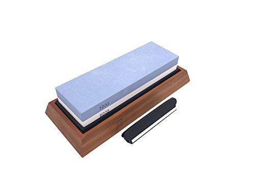 Do4U Whetstone Knife Sharpening Stone Set - Premium 2-Sided 1000 6000 Grit - Kitchen Knife Blade Sharpener - Professional Grade W Angle Guide Anti-Slip Bamboo Base Blue&White