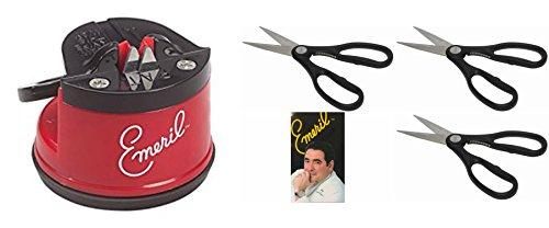 Emeril Knife Sharpener with Suction Mount Red BONUS 3 Pack of Kitchen Scissors Stainless Steel Blades Black