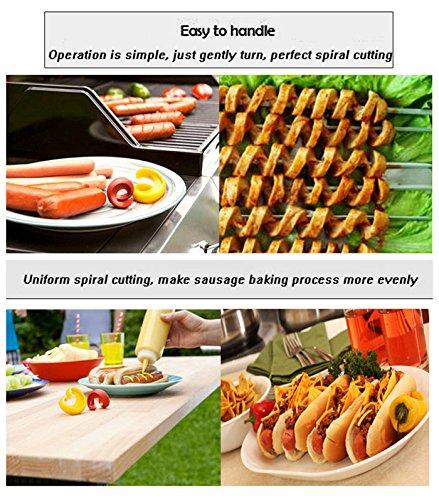 Hot Dog Cutter - Hot Dog Slicer - 2Pcs Manual Fancy Sausage Cutter Spiral Barbecue Hot Dogs Cutter Slicer - Hot Dog Cookie Cutter