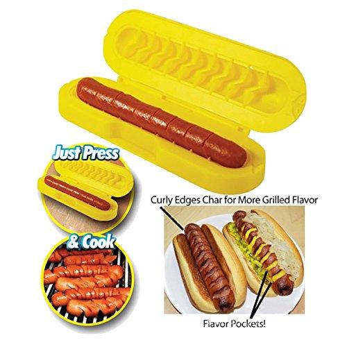 Hotdog Slicer Honana Spiral Hot Dog Slicer Set and Sausage Cutter Slice BBQ Grill Spiral Hot Dog Sausage Slicer Cutter and Bread Baking Device Meat Tool Hot Dog Sausage Slicers Cooking Set