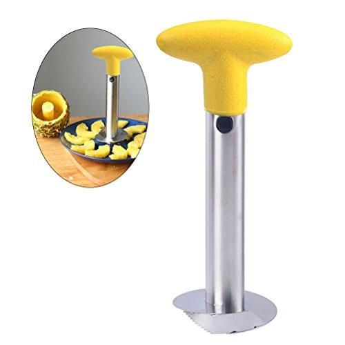 BESTOMZ Pineapple Peeler Slicer  Multi-functional 3-In-1 Stainless Steel Fruit Cutter Yellow