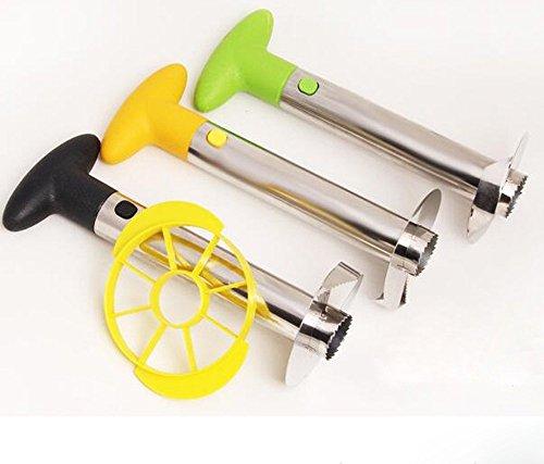 Haiker Black handle Silver Stainless Steel Pineapple Slicer and Corer Large Peeler Stem Remover for Medium to Large Pineapple