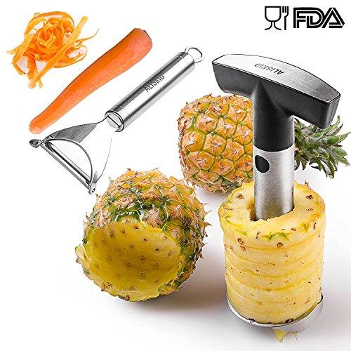 Pineapple Corer  Vegetable Fruit Peeler - ALISKID Stainless Steel Pineapple Corer Peeler Slicer Parer Cutter