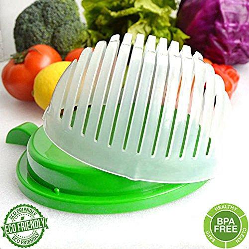 60 Second Salad Cutter Bowl Salad Maker Salad Bowl Vegetable Salad chopper Salad Shooter Salad Server-Make Your Salad in 60 Seconds Green