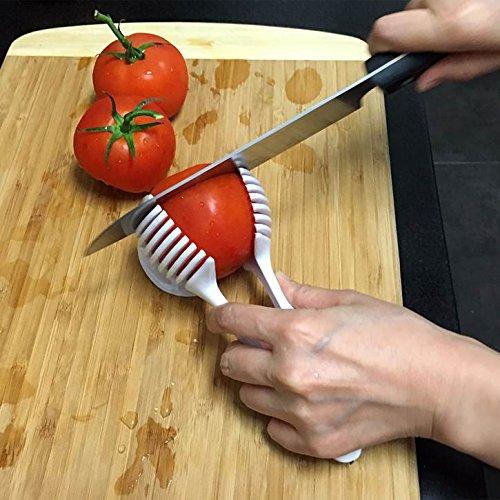 Emson Multi-Functional Handheld Round Fruit Slicer Kiwi Tomato Mushrooms Slicers Salad Slicer Fruit Vegetable Slicer Kitchen Tool in White
