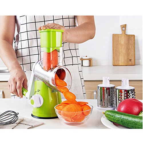 Fecihor Vegetable Mandoline Slicer Salad Cutter Chopper Cheese Grater Potato Julienne Nut Shredder with 3 Stainless Steel Blades Green