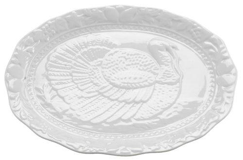 HIC Turkey Oversized Serving Platter Embossed Fine White Porcelain 17-Inches