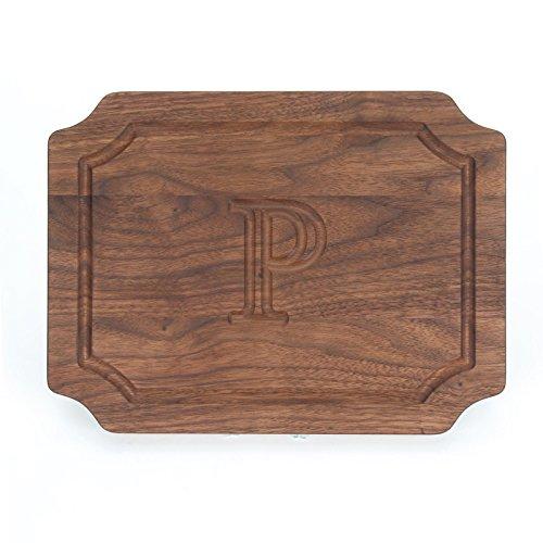 BigWood Boards W300-P Cutting Board Monogrammed Wedding Gift Cutting Board Small Cheese Board Walnut Wood Serving Tray P