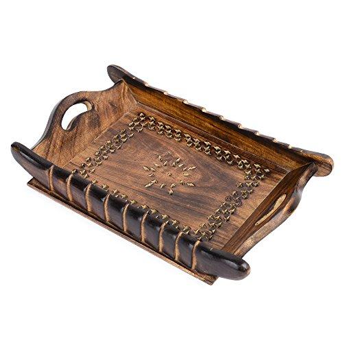 Rusticiy Wooden Serving Tray - Antique Meshwork  Handmade  Medium