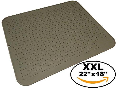 XXL Premium Silicone Dish Drying Mat - 22 x 18 inch - Easy Clean Design - Food Safe - Eco Friendly Grey