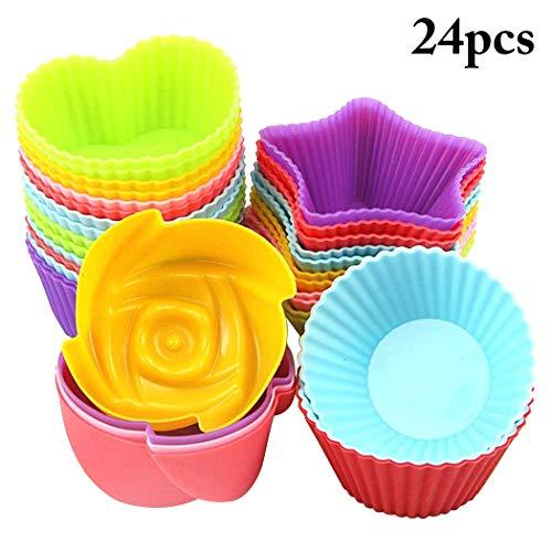 Funpa 24PCS Baking Cup Reusable Nonstick Silicone Mold Muffin Cup Cupcake Mold