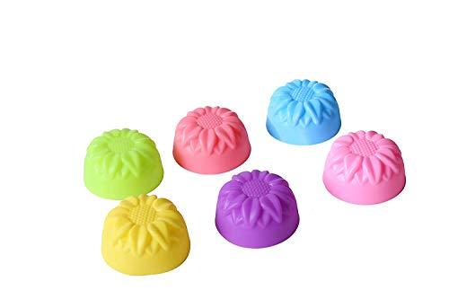 HUI JIN Silicone Cupcake Cups Reusable Non-Stick Mini Baking Muffin Cups 36 Pcs