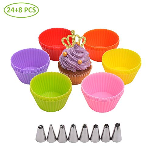 Numola 24 Packs Reusable Silicone Muffin Pans Baking Cups 6 Colors Silicone Cupcake Liners Heat Resistant Nonstick Easy Clean Pastry Muffin Molds with 8pcs Cake Decorating Icing Piping Tips
