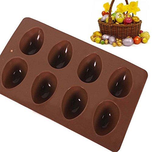 Megrocle 8 holes Random Egg-shaped Truffles ChocolateCake moldChocolate moldSilicone moldIce tray moldbaking mold Easter Egg Silicone Cake Baking Mold2 of Set