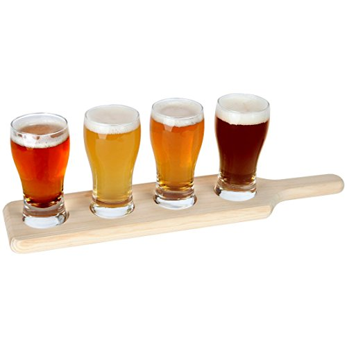 Lilys Home Beer Tasting Set Beer Flight 4 Beer Glasses on a Wooden Tray
