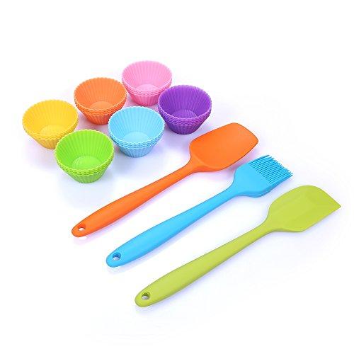 24 Mini Silicone Baking Cups With Bonus Silicone Mini Scraper Mini Spatula Mini Brush - Nonstick Reusable Mini Size Baking Cupcake Kit for Kids