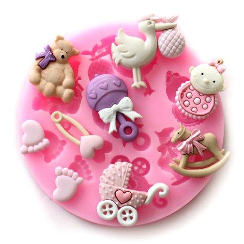 Longzang Mini Silicone Sugar Fondant and Cake Mold Baby Shower Theme Pink