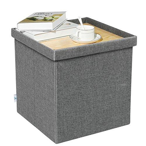 B FSOBEIIALEO Storage Ottoman with Tray Small Ottomans Cube Folding Coffee Table Foot Stool Footrest Seat Dark Grey Linen 16X157x15