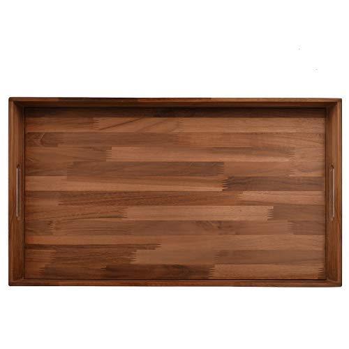 Glitz Star Square Ottoman Tray Teak Wood Serving Tray Extra Large24 x 13 inch