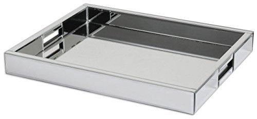 Modern Mirrored Glass Serving Tray  Decorative Bar Handles by Intelligent Design