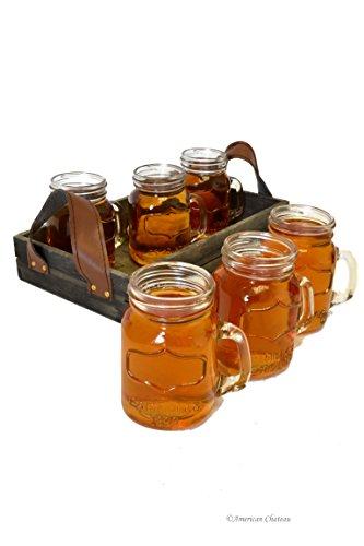 Retro Set 6 Glass Small Mason Jar Drinking Shot Shooter Glasses with Serving Tray