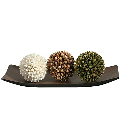 Hosley Decorative Tray and Floral OrbBall Set Great Gift Ideal for Home office Spa or Aromatherapy settings