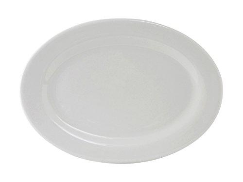 Tuxton ALH-136 Vitrified China Alaska Oval Platter Wide Rim Rolled Edge 13-34 x 10 Porcelain White Pack of 12