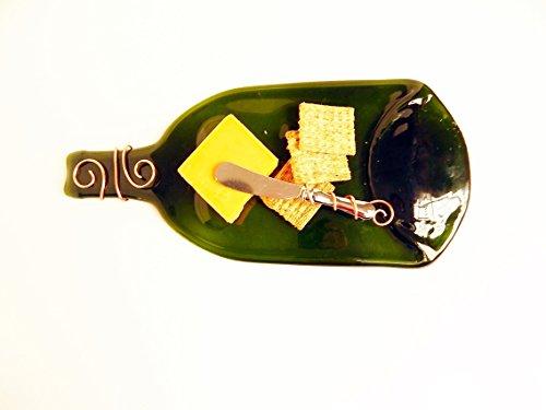 Cheese Platter Flattened Bottle Wire Wrap Knife Green Recycled Bottle