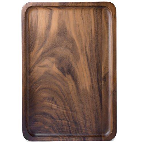 Bamber Wood Rectangular Serving Trays Medium Black Walnut