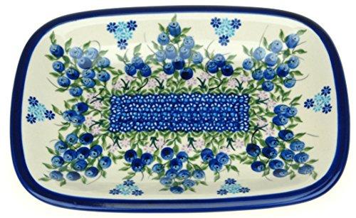 Ceramika Boleslawiecka Kalich Polish Hand Painted Rectangular Serving Tray 975 x 7 Blueberries