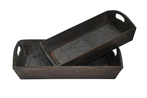 Cheungs Rattan FP-3231-2 Wooden Garden Rectangular Serving Tray Set of 2