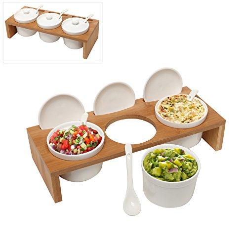 3 Pcs 35-Inch Ceramic Condiment Dip Sauce Ramekins Set w Lids Spoons on Bamboo Sampler Serving Tray