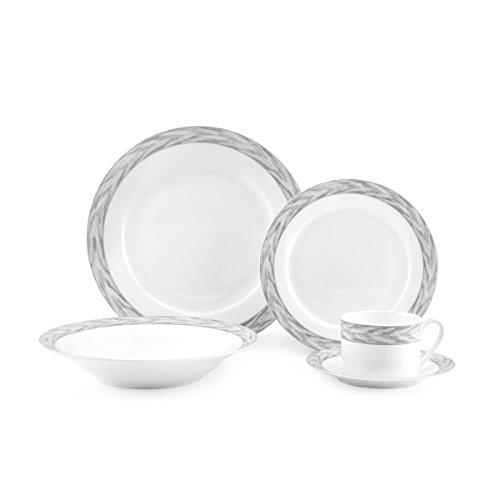 Mikasa Silk Moire Gris 20-Piece  Bone China Dinnerware Set Service for 4