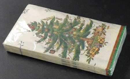 Spode Christmas Tree-Green Trim Pack Paper Guest Towel Napkins Fine China Dinnerware