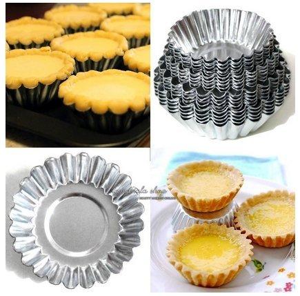 20pcslot 4 Sizes Egg Tart Aluminum Cupcake Cake Cookie Mold Lined Mould Tin Baking Tool