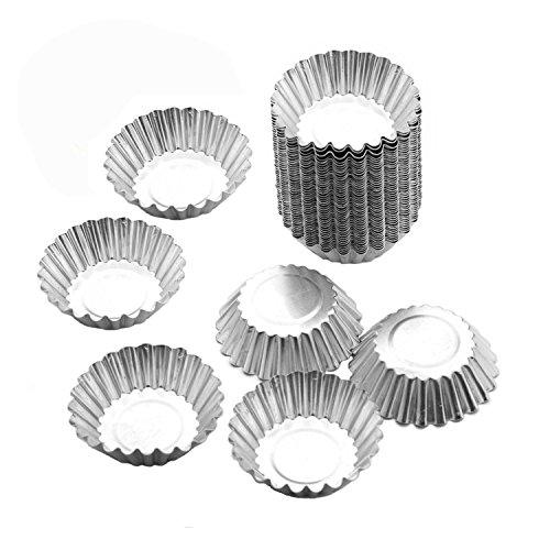 50 Pack lieomo Egg Tart Aluminum Cupcake Cake Cookie Mold Tin Baking Tool Baking Cups