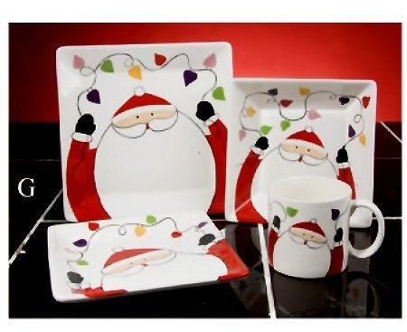 16PC Christmas Ceramic Dinnerware set Santa Claus
