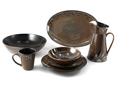 Ambiance Sunburst 19 Piece Brown Ceramic Dinnerware Set Service for 4