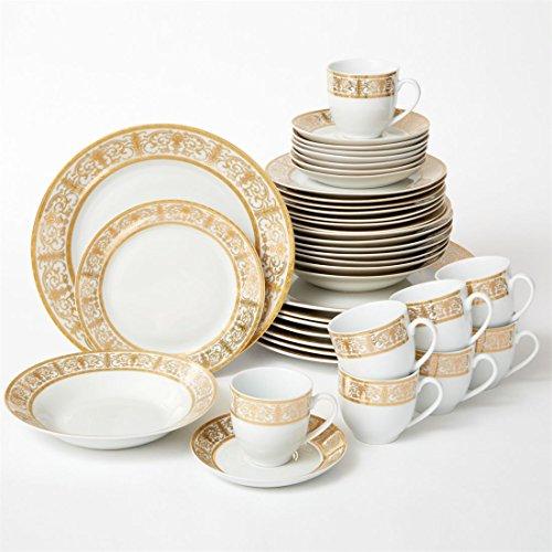 Brylanehome 40-Pc Golden Ceramic Dinnerware Set Gold White