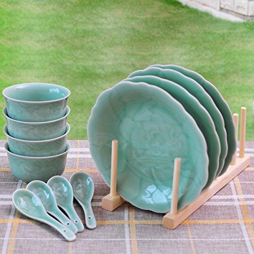 Ceramic Story Livingware Celadon Porcelain Peony Pattern 12-Piece Dinnerware Set Service for 4 Plum Green