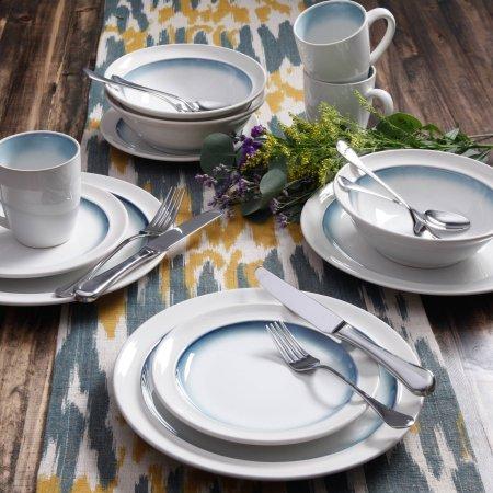 Gibson Studio Harlow 16-Piece Reactive Glaze Ceramic Dinnerware Set Teal