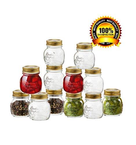 Bormioli Rocco Quattro Stagioni 12 Piece, 8.5 Oz Glass Decorative Mason Jar Set For Canning / Spice / Jelly /