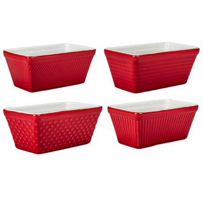 4 Piece Mini Loaf Pan Set Set of 4 Color Red