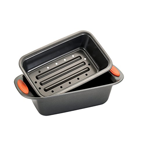 Rachael Ray Oven Lovin Non-Stick 2-Piece Meatloaf Pan Set Orange