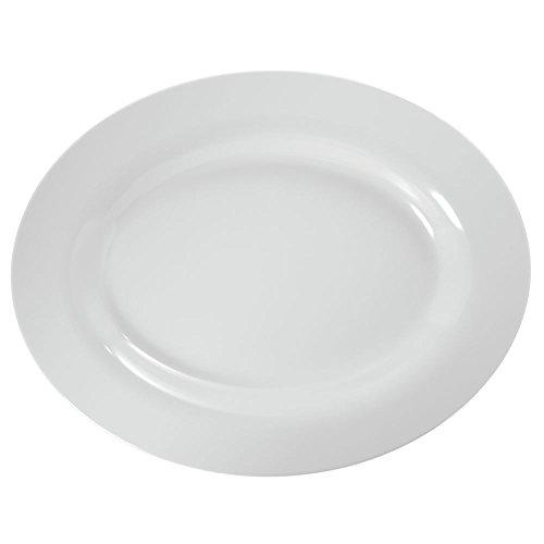 Large Melamine Oval Platter in White 18L x 14W