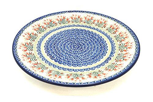 Polish Pottery Large Round Platter - Crimson Bells