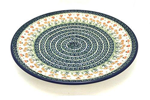 Polish Pottery Large Round Platter - Peach Spring Daisy