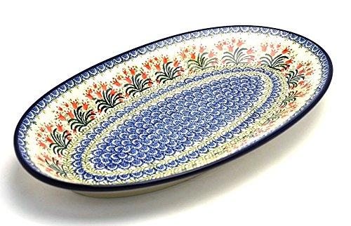 Polish Pottery Platter - Oblong - Large - Crimson Bells